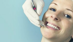woman smiling happy dental visit