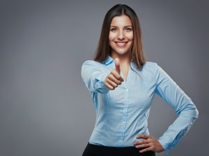 confident woman giving thumb up
